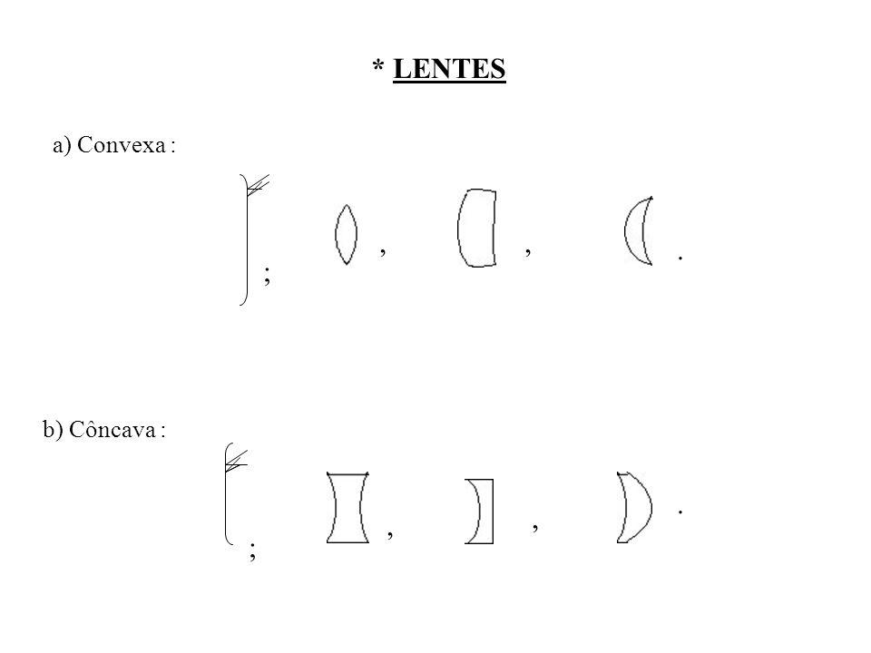 * LENTES a) Convexa : , , . ; b) Côncava : . , , ;