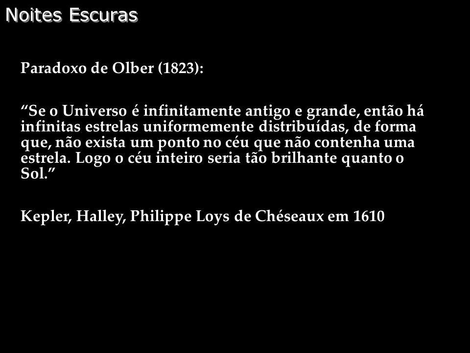 Noites Escuras Paradoxo de Olber (1823):