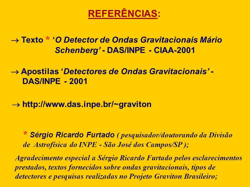 REFERÊNCIAS: Texto * 'O Detector de Ondas Gravitacionais Mário. Schenberg' - DAS/INPE - CIAA-2001.