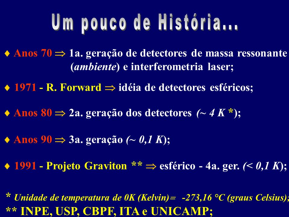 Um pouco de História...  Anos 70  1a. geração de detectores de massa ressonante. (ambiente) e interferometria laser;