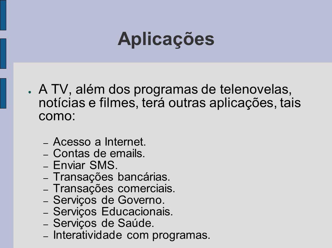 Aplicações A TV, além dos programas de telenovelas, notícias e filmes, terá outras aplicações, tais como: