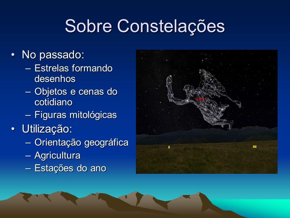 Sobre Constelações No passado: Utilização: Estrelas formando desenhos