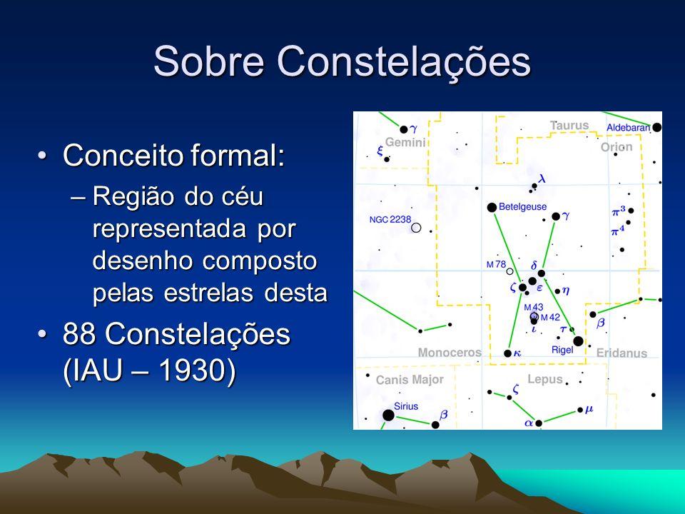 Sobre Constelações Conceito formal: 88 Constelações (IAU – 1930)