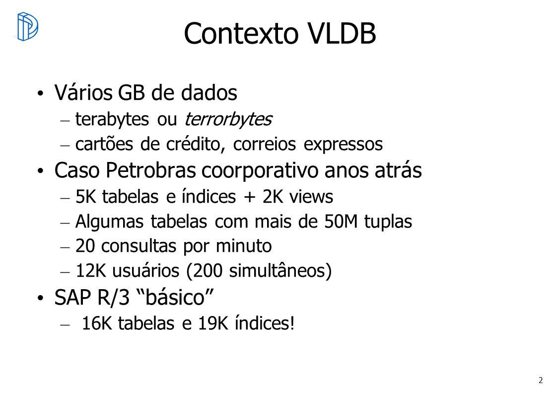 Contexto VLDB Vários GB de dados