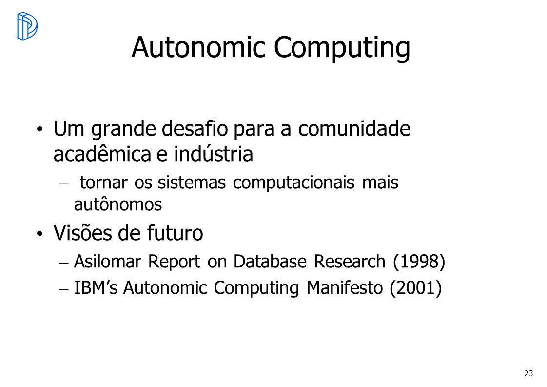 Autonomic Computing Um grande desafio para a comunidade acadêmica e indústria. tornar os sistemas computacionais mais autônomos.