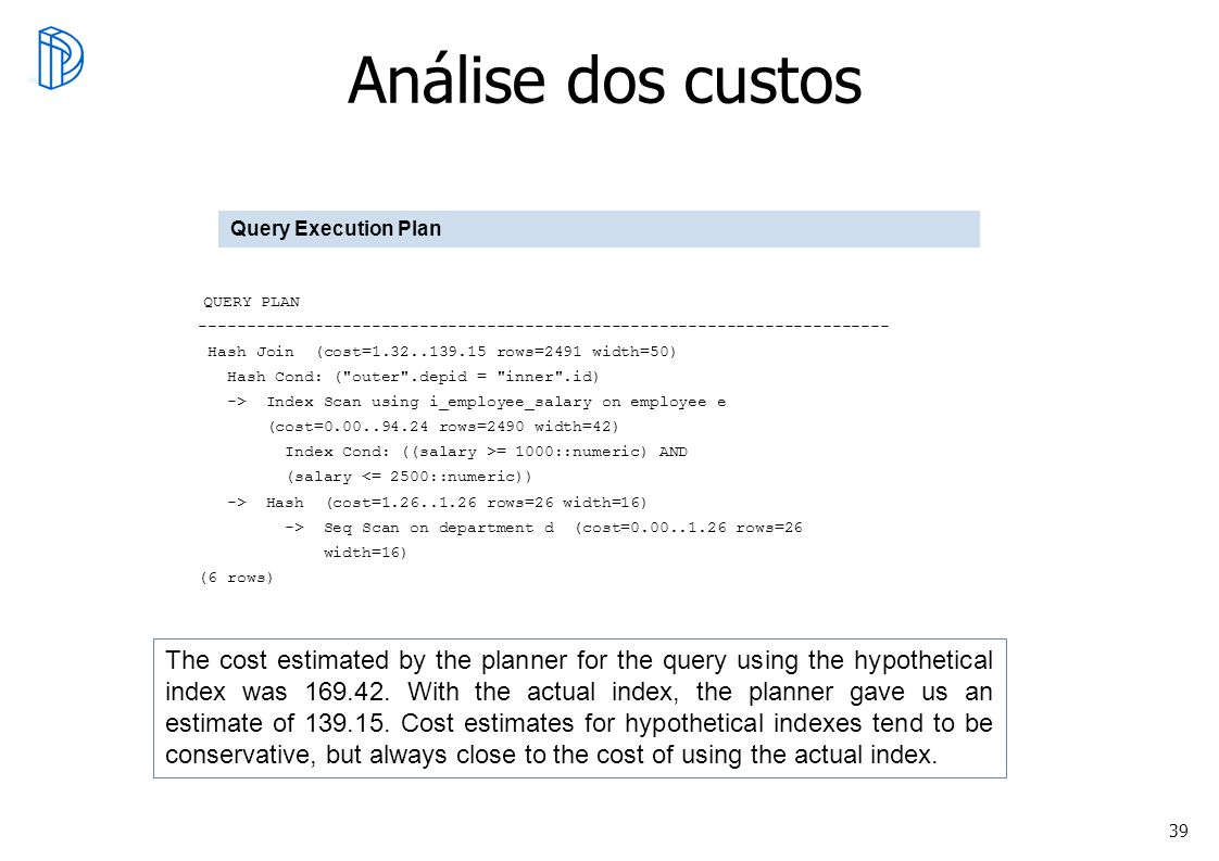 Análise dos custos Query Execution Plan. QUERY PLAN. ------------------------------------------------------------------------