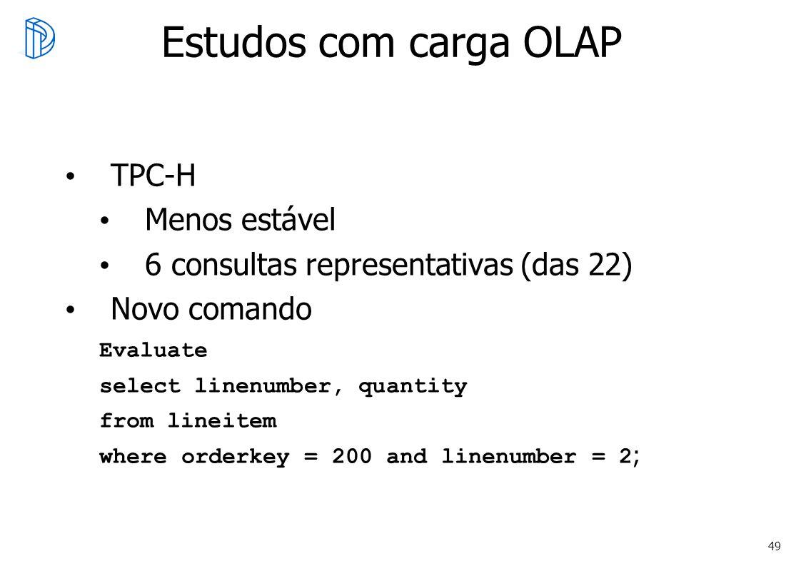 Estudos com carga OLAP TPC-H Menos estável