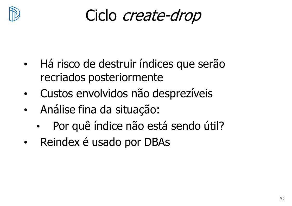 Oracle Otimização Ciclo create-drop. Há risco de destruir índices que serão recriados posteriormente.
