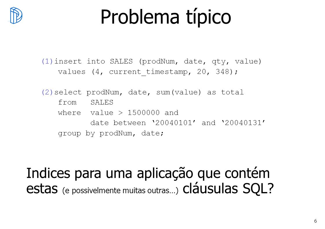 Problema típico insert into SALES (prodNum, date, qty, value) values (4, current_timestamp, 20, 348);