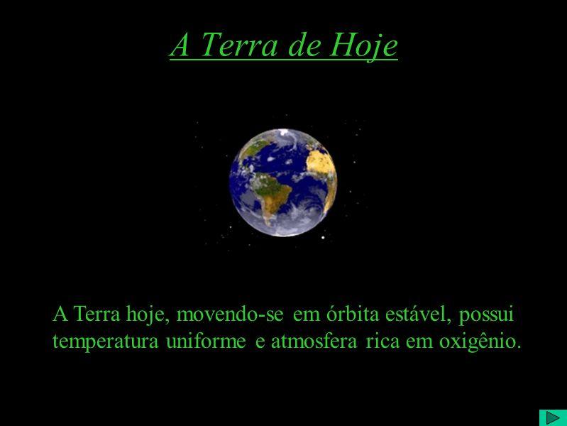 A Terra de Hoje A Terra hoje, movendo-se em órbita estável, possui temperatura uniforme e atmosfera rica em oxigênio.