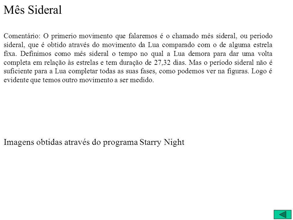 Mês Sideral Imagens obtidas através do programa Starry Night