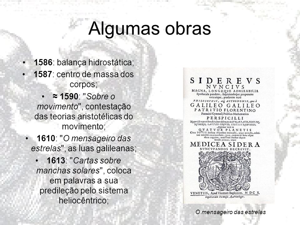 Algumas obras 1586: balança hidrostática;