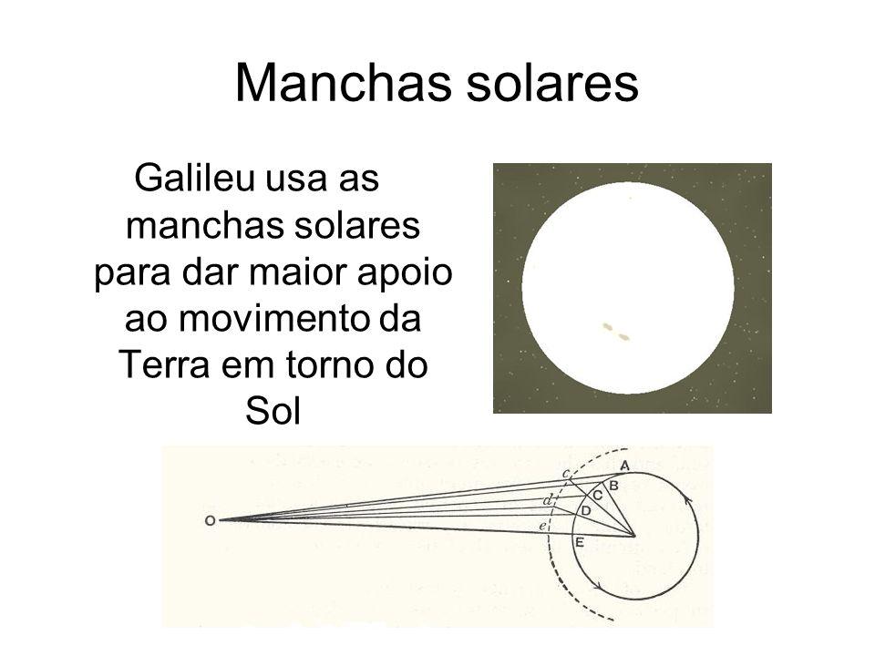 Manchas solares Galileu usa as manchas solares para dar maior apoio ao movimento da Terra em torno do Sol.