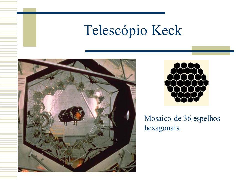 Telescópio Keck Mosaico de 36 espelhos hexagonais.