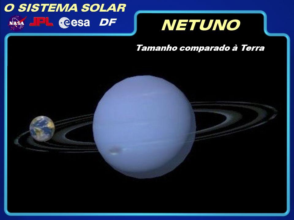 O SISTEMA SOLAR DF NETUNO Tamanho comparado à Terra