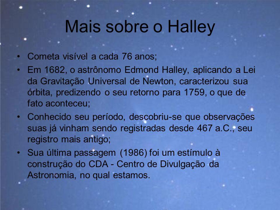 Mais sobre o Halley Cometa visível a cada 76 anos;