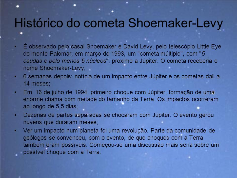 Histórico do cometa Shoemaker-Levy