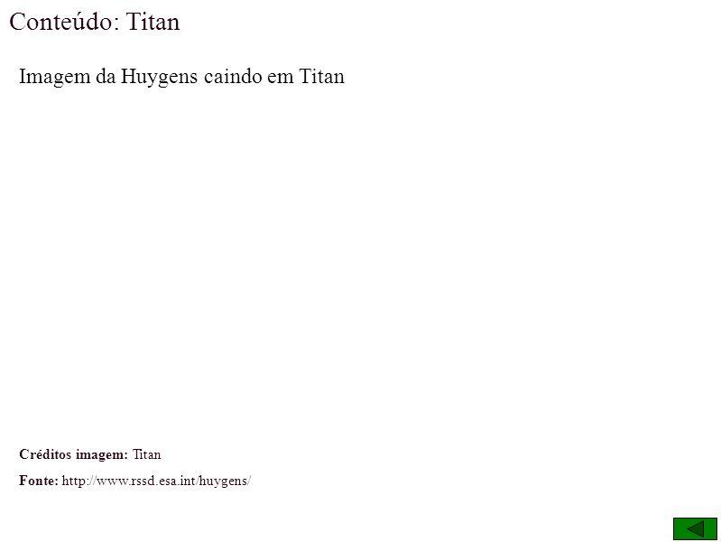 Conteúdo: Titan Imagem da Huygens caindo em Titan