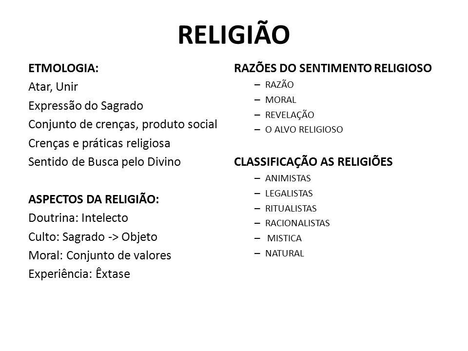 RELIGIÃO ETMOLOGIA: RAZÕES DO SENTIMENTO RELIGIOSO Atar, Unir