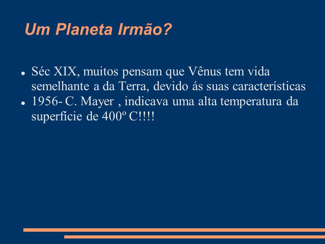 Um Planeta Irmão Séc XIX, muitos pensam que Vênus tem vida semelhante a da Terra, devido ás suas características.