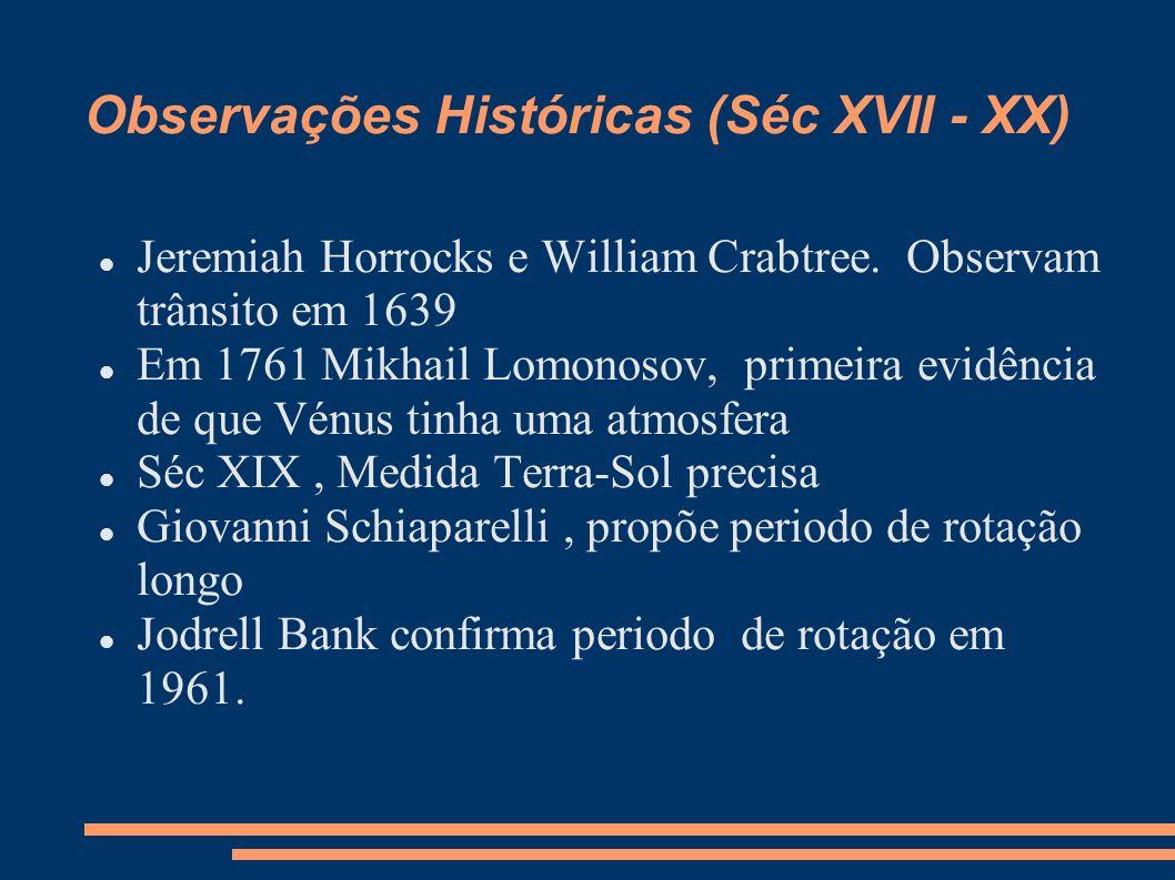 Observações Históricas (Séc XVII - XX)