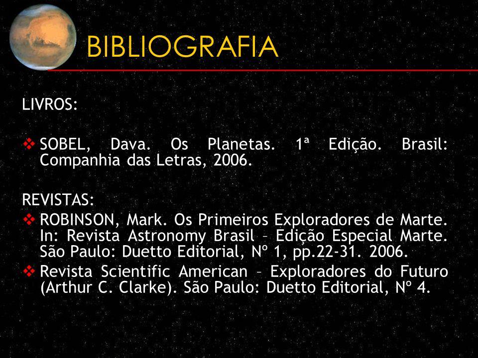 BIBLIOGRAFIA LIVROS: SOBEL, Dava. Os Planetas. 1ª Edição. Brasil: Companhia das Letras, 2006. REVISTAS: