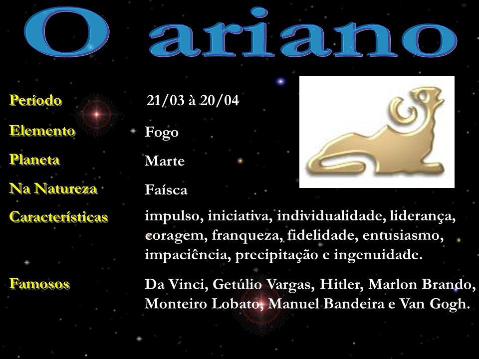 O ariano Período 21/03 à 20/04 Elemento Planeta Na Natureza