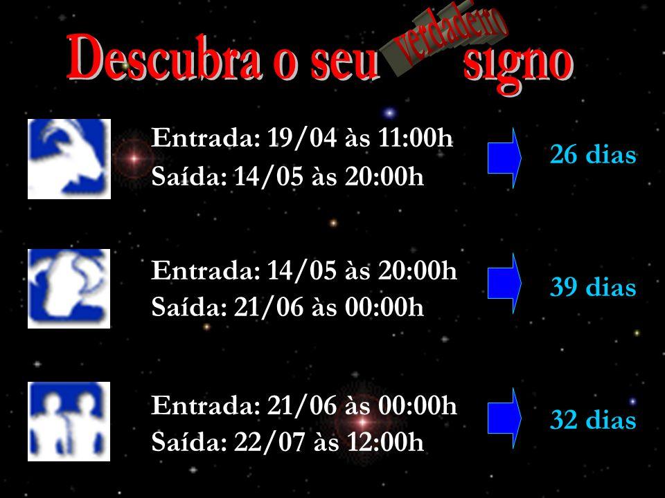 Descubra o seu signo verdadeiro Entrada: 19/04 às 11:00h 26 dias
