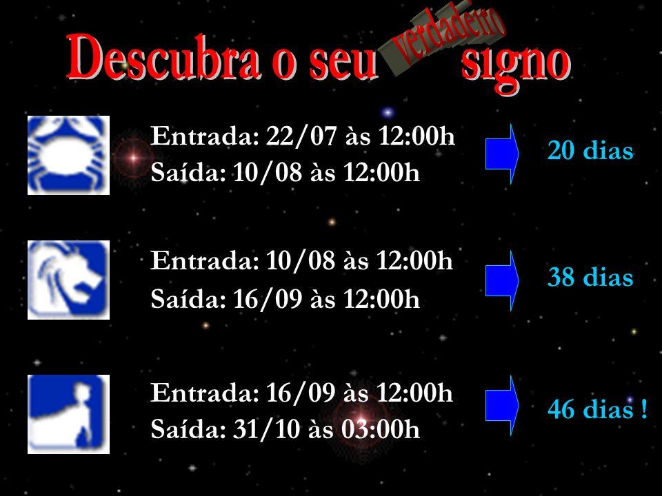 Descubra o seu signo verdadeiro Entrada: 22/07 às 12:00h 20 dias