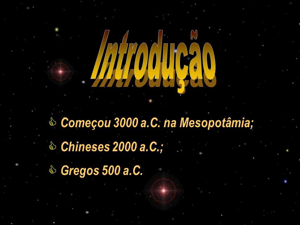 Introdução Começou 3000 a.C. na Mesopotâmia; Chineses 2000 a.C.;