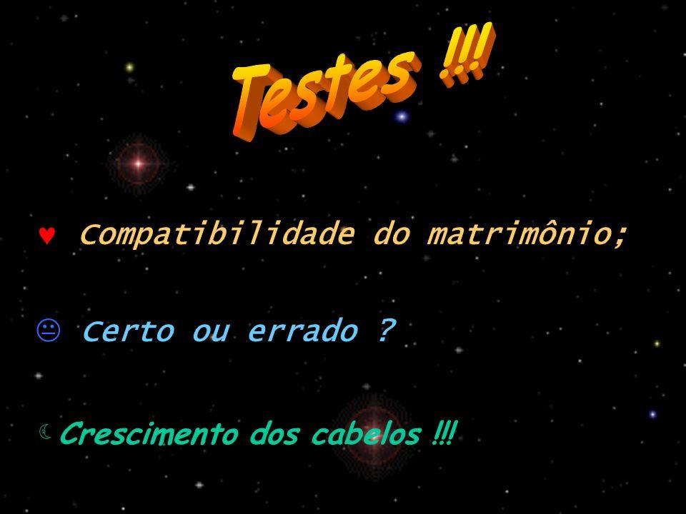 Testes !!! Compatibilidade do matrimônio; Certo ou errado