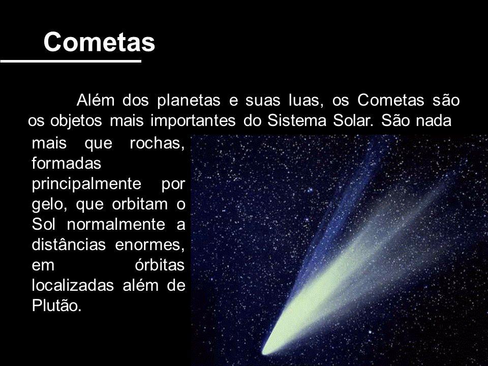 Cometas Além dos planetas e suas luas, os Cometas são os objetos mais importantes do Sistema Solar. São nada.