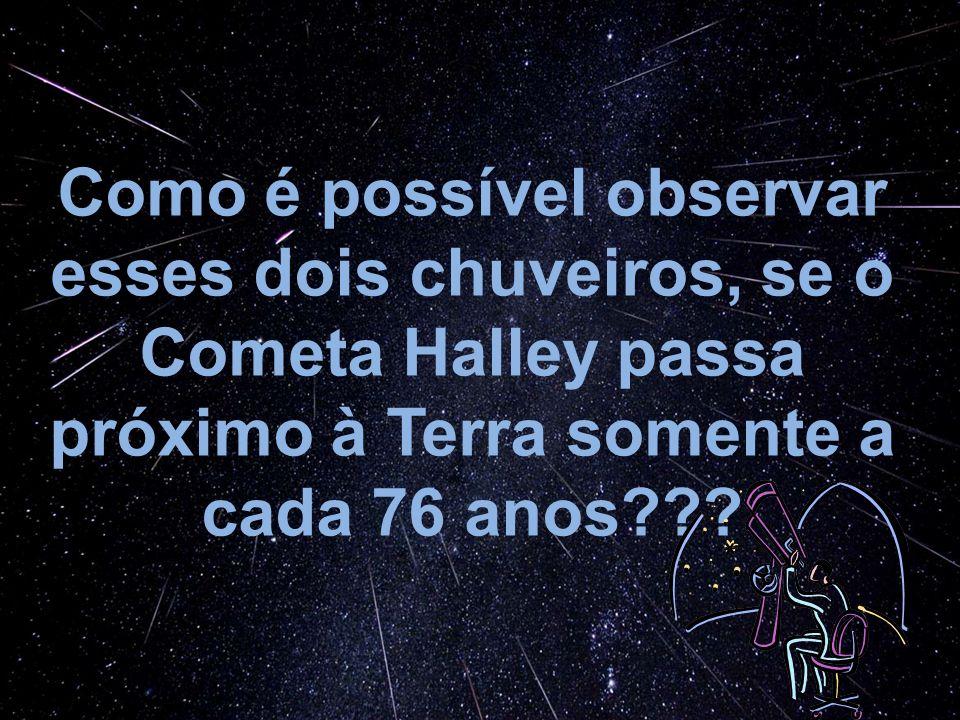Como é possível observar esses dois chuveiros, se o Cometa Halley passa próximo à Terra somente a cada 76 anos