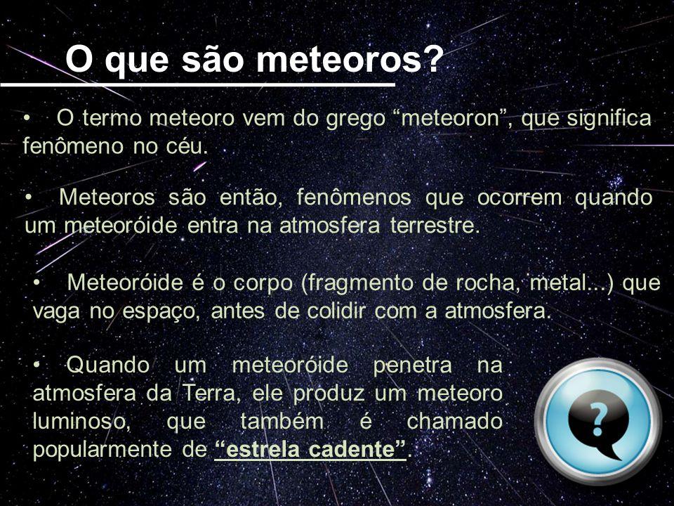 O que são meteoros O termo meteoro vem do grego meteoron , que significa fenômeno no céu.