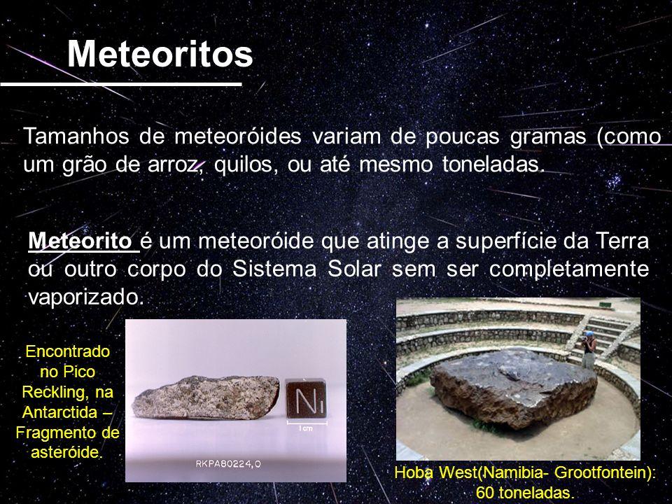 Meteoritos Tamanhos de meteoróides variam de poucas gramas (como um grão de arroz, quilos, ou até mesmo toneladas.