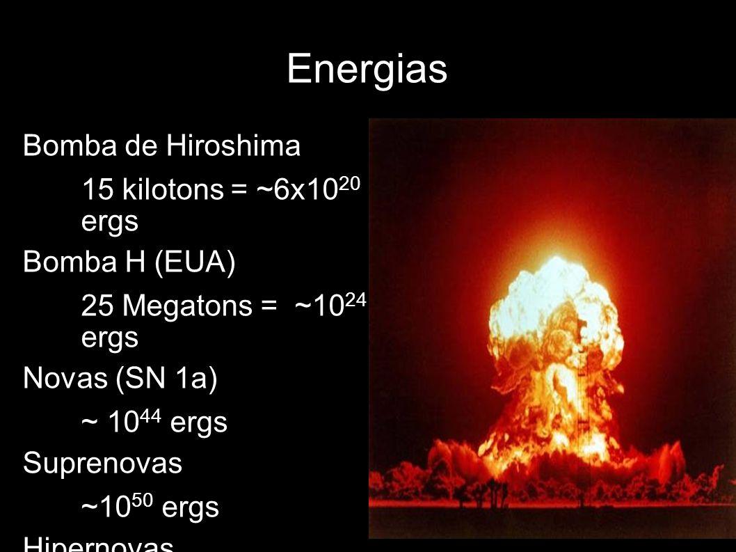 Energias Bomba de Hiroshima 15 kilotons = ~6x1020 ergs Bomba H (EUA)