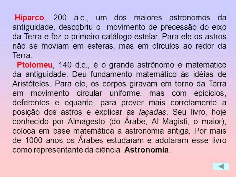 Hiparco, 200 a.c., um dos maiores astronomos da antiguidade, descobriu o movimento de precessão do eixo da Terra e fez o primeiro catálogo estelar. Para ele os astros não se moviam em esferas, mas em círculos ao redor da Terra.
