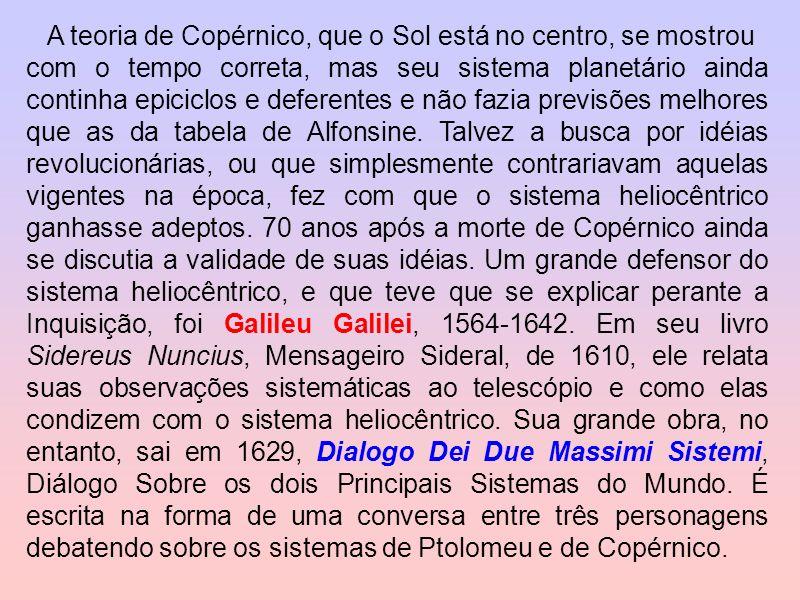 A teoria de Copérnico, que o Sol está no centro, se mostrou