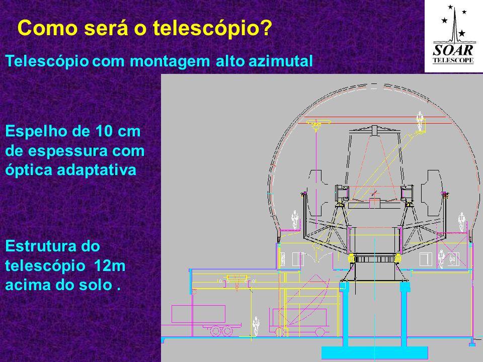 Como será o telescópio Telescópio com montagem alto azimutal