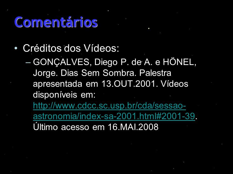 Comentários Créditos dos Vídeos: