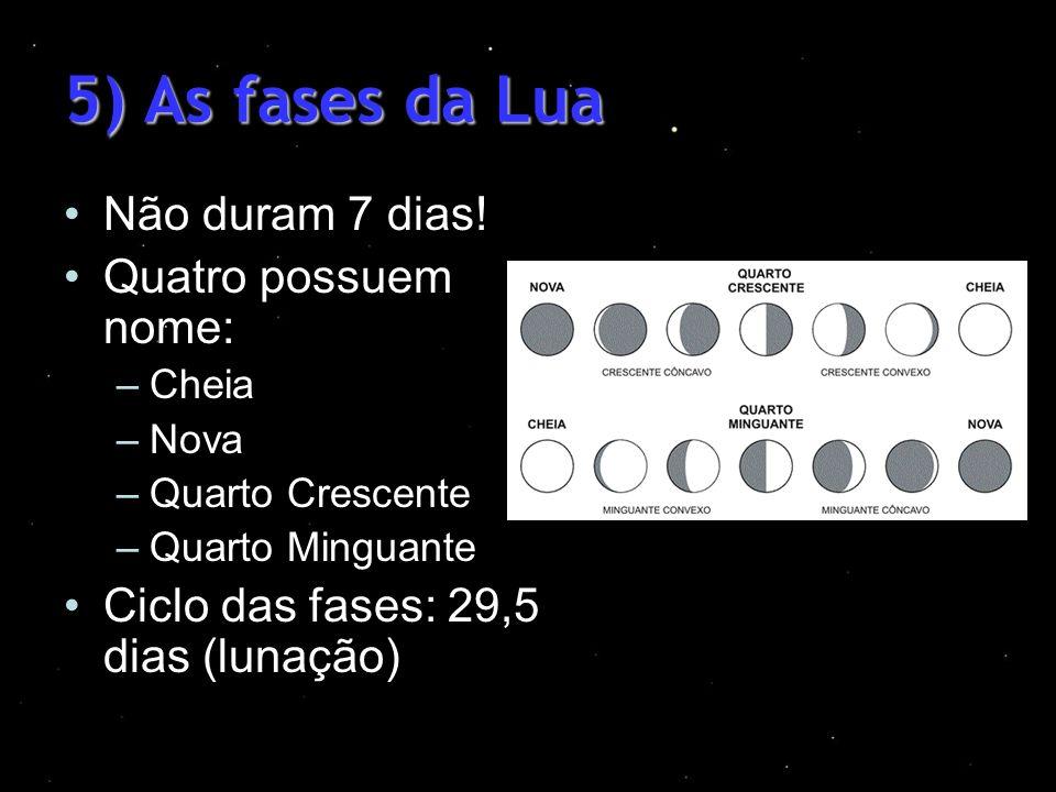5) As fases da Lua Não duram 7 dias! Quatro possuem nome: