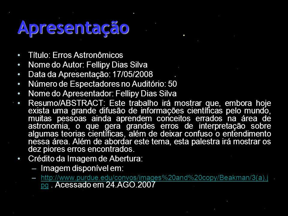 Apresentação Título: Erros Astronômicos