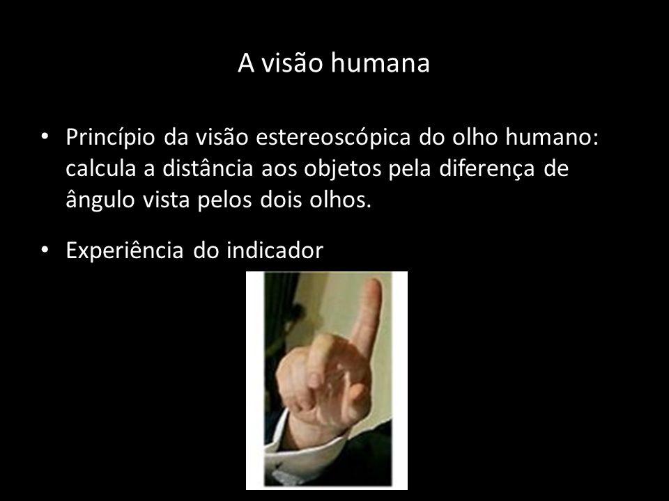 A visão humana Princípio da visão estereoscópica do olho humano: calcula a distância aos objetos pela diferença de ângulo vista pelos dois olhos.