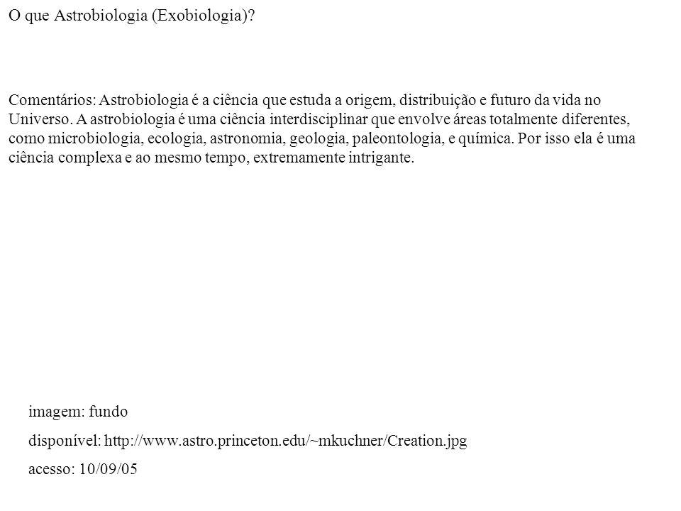 O que Astrobiologia (Exobiologia)