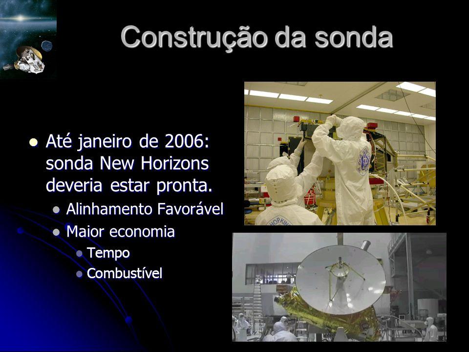 Construção da sonda Até janeiro de 2006: sonda New Horizons deveria estar pronta. Alinhamento Favorável.