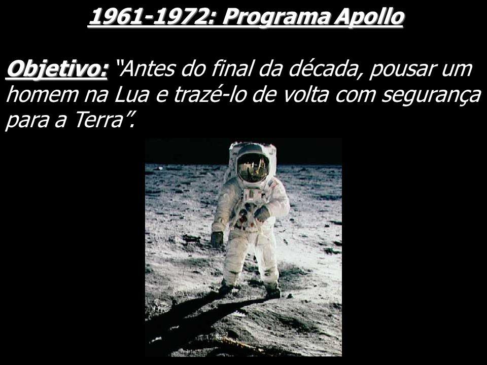 1961-1972: Programa ApolloObjetivo: Antes do final da década, pousar um homem na Lua e trazé-lo de volta com segurança para a Terra .