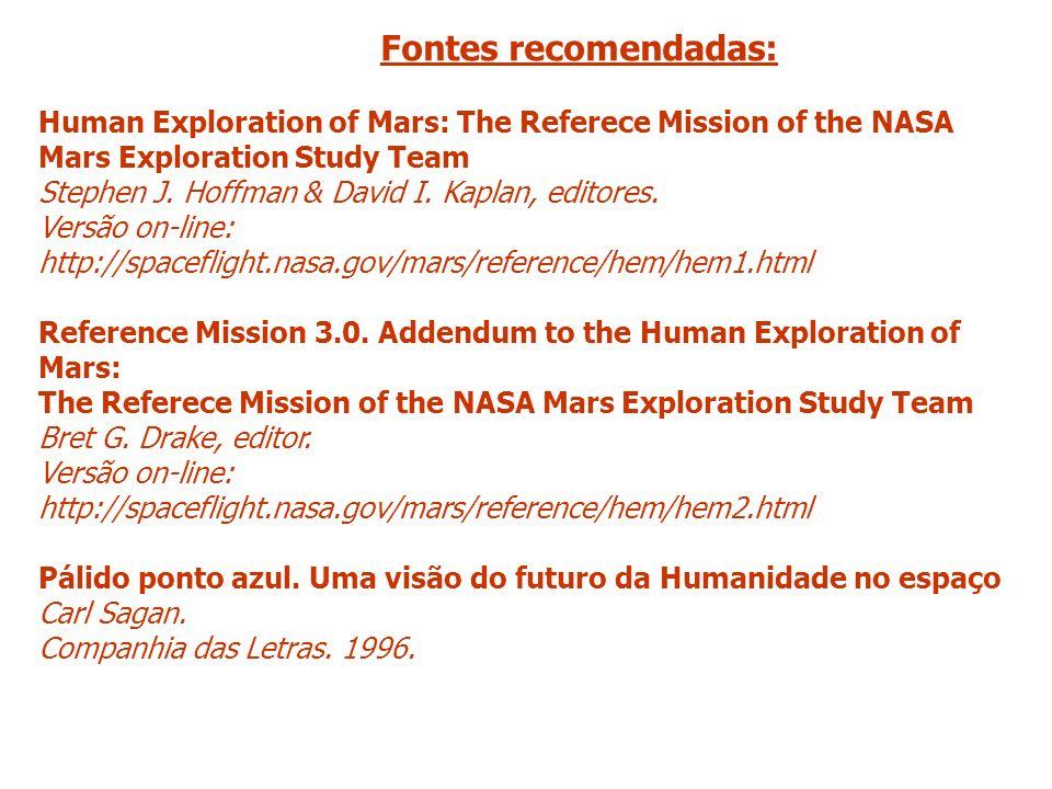 Fontes recomendadas:Human Exploration of Mars: The Referece Mission of the NASA. Mars Exploration Study Team.
