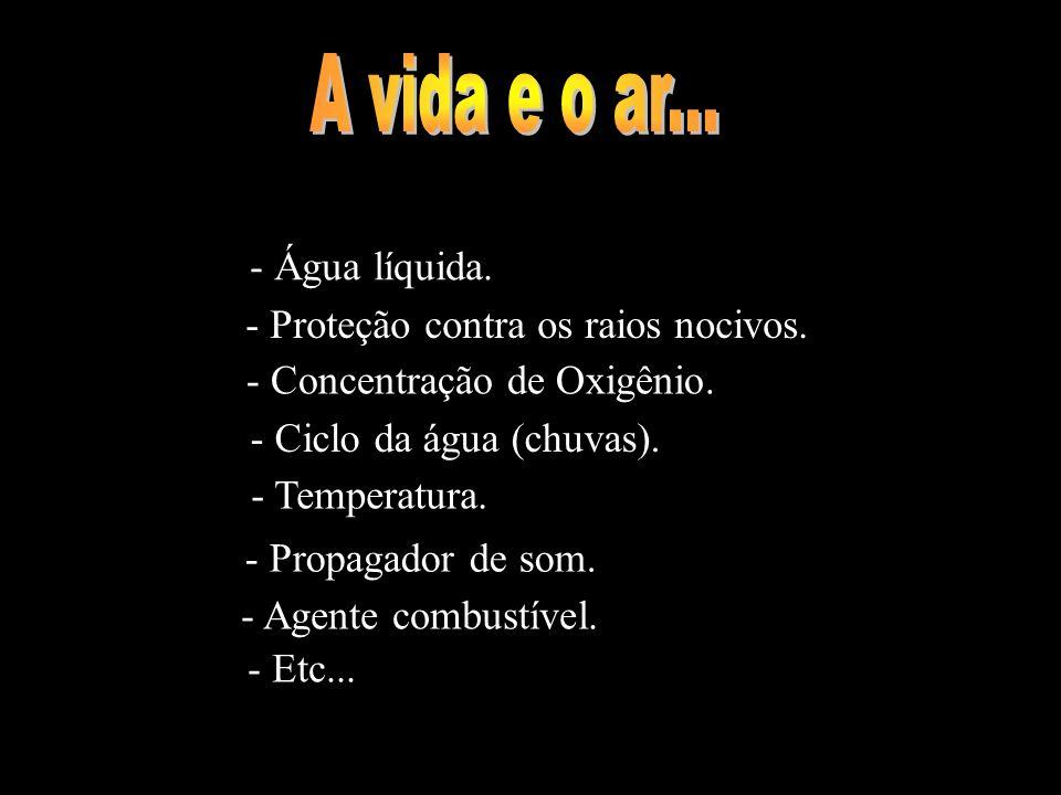 A vida e o ar... - Água líquida. - Proteção contra os raios nocivos.