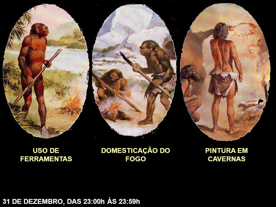 USO DE FERRAMENTAS DOMESTICAÇÃO DO FOGO PINTURA EM CAVERNAS 31 DE DEZEMBRO, DAS 23:00h ÀS 23:59h
