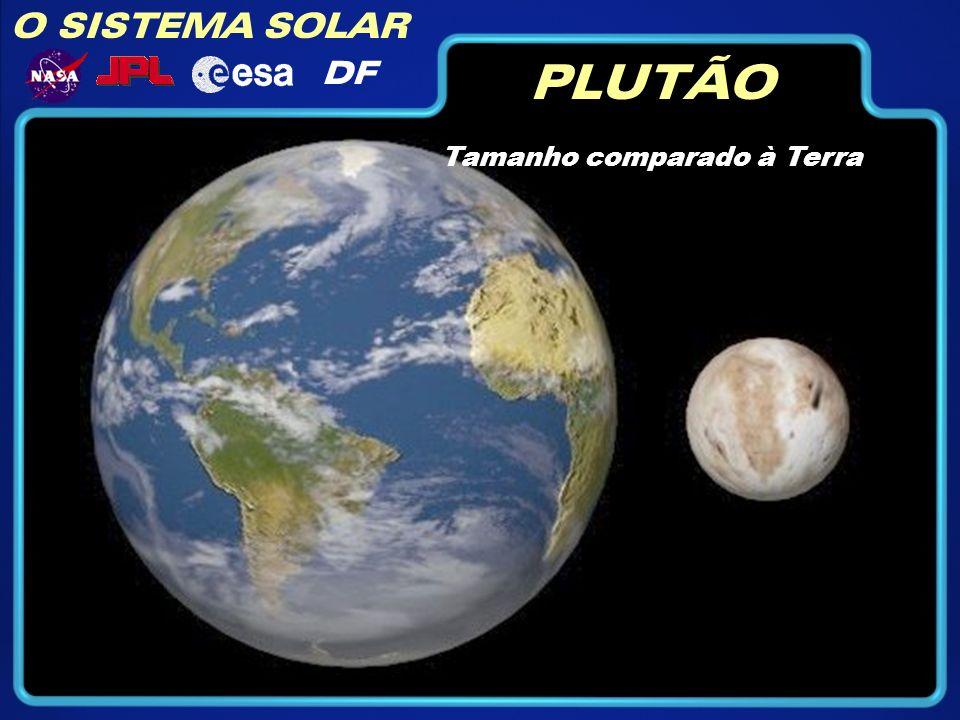 O SISTEMA SOLAR DF PLUTÃO Tamanho comparado à Terra